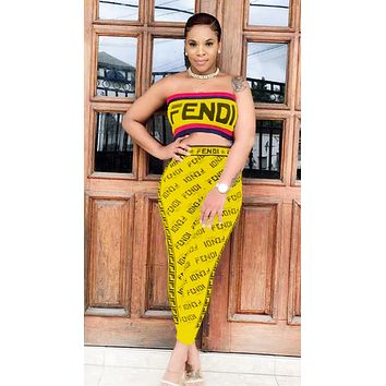 Fendi Fashion New Summer More Letter Print Leisure Strapless Top And Pants Two Piece Suit Yellow