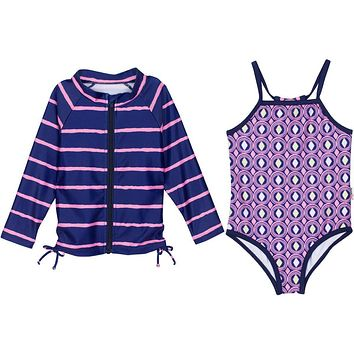 """Little Girl One-Piece Swimsuit and Long Sleeve Rash Guard Set (2 Piece) - """"Diamonds Are Forever"""""""