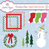 Christmas Cheer Digital Clipart Bundle, Instant Download for Cards, Tags, Invitations, Scrapbooking