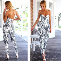 2016 Summer Women Sexy Long Jumpsuit Cotton Solid Strapless Romper Leaves Printing Deep V Casual Clothes Stomacher Playsuits