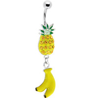 Enameled PINEAPPLE BANANA Dangle Belly Ring | Body Candy Body Jewelry