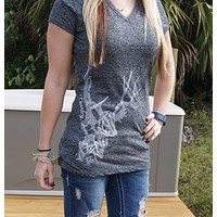 All Antlers V-Neck Cap Sleeve Tee - Gray