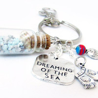Beach Keychain, Seashell Keychain, Seashell Bottle Keychain, Car Accessory, Fish Keychain, Beach Accessory, Dreaming of the Sea Keychain