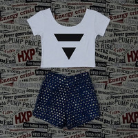 Inverted Triangle Print Womens Crop Top Ladies Short Sleeve Stretch T Shirt Tee