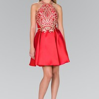 High-Neck Lace Appliqued Short Dress with Tulle Skirt Lining GS2389
