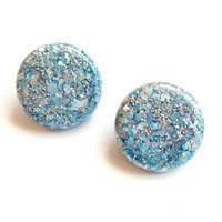 Vintage Blue Confetti Lucite Earrings - Clip On Earrings - Sparkle Glitter Embedded - 1950s 1960s Style - Baby Pale Blue - Circle Disk