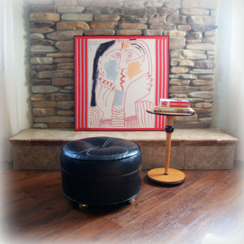 MOD 1960s VINTAGE OTTOMAN / Mid Century Modern Furniture / Living Room / Footstool in Black Tufted Faux Leather / Rolling Wheels / Retro