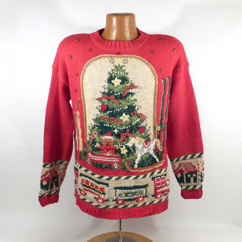 Ugly Christmas Sweater Vintage 1990s Tree  Holiday Tacky Xmas Party Women's size L
