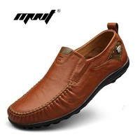 Top quality men flats shoes genuine leather men shoes handmade loafers Moccasins plus size driving shoes zapatos hombre