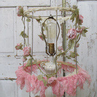 Shabby cottage lampshade pink lace and romantic country rose vines up cycled lamp shade wire form lighting home decor anita spero design