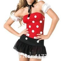 Minnie Mouse Dress Adult Halloween Costumes For Women Minnie Mouse Costume Cosplay Sexy Fantasy Women