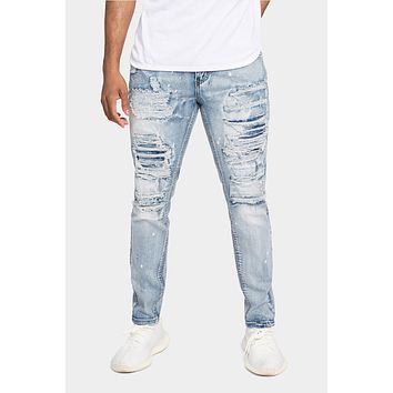 Distressed Paint Splattered Patched Jeans