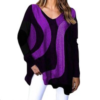 fhotwinter19 new striped loose long-sleeved printed women's top