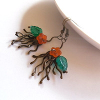 Copper wire earrings, bohemian style, woman gift, orange green beaded jewelry, statement earrings, contemporary jewelry, Fantasy