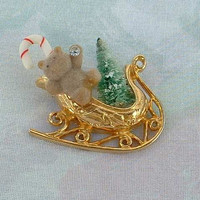 Sleigh Brooch with Teddy Bear Christmas Tree Candy Cane Holiday
