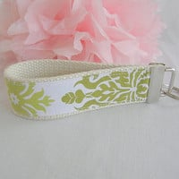 Ready To Ship Green White Natural Joel Dewberry Key Fob Wristlet Key Chain Fabric Key Chain