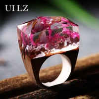 2017 New UILZ Luxury Brand Jewelry Unique Flower Resin Wooden Rings Vintage Handmade gift
