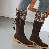 Hot style hot selling suede square heel lace-up women's shoes round toe boots