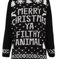 Women Men Unisex Merry Christmas Ya Filthy Animal Knitted Jumper Novelty Sweater (SM (UK 8-10 US 4-6 EU 36-38), Red)