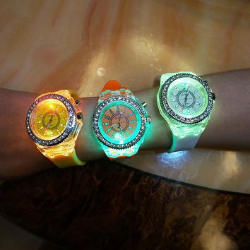 Flashing Light up Color Changing LED Silicone Jelly Watch Gift