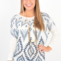 Ivory and Navy Aztec Print Sweater