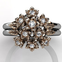 14k two tone white and rose gold diamond flower bouquet unusual unique floral engagement ring, wedding ring, engagement set ER-1040-5