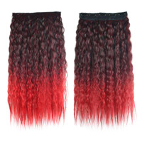 Colorful Corn Hot 5 Cards Hair Extension Wig     black wine red