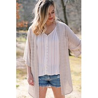 Summer Striped Cardigan, Cream