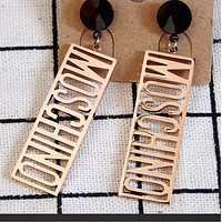 Moschino new fashion rectangular hollow letter long earrings women Rose golden