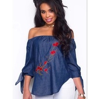 Womens Top Off Shoulder Long Sleeve Blouse