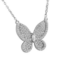 Sterling Silver Women's Butterfly Solitaire Pendant Lab Diamonds