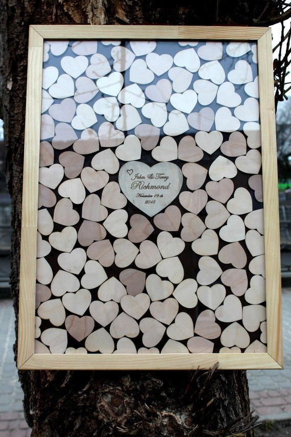 Guest Box with hearts Wooden Guest Book Drop Box Wedding Guest Book Alternative Guest Book Custom Guest Book Wedding box Wedding gift