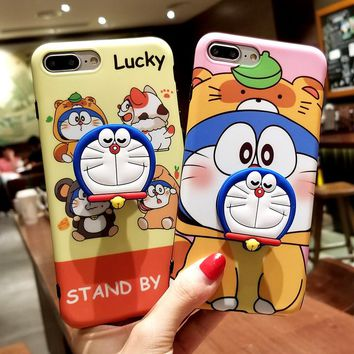 For iPhone 7 7plus Doraemon case, Cute Hello kitty stitch back case For iPhone XR XS max X 8 8plus 6 6S 6P phone cover + stander