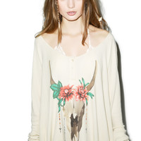 Wildfox Couture Desert Dahlia Lagoon Henley Long-Sleeve Thermal Pale Moon