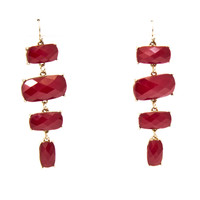 Stepping Stone Dangle Earrings In Red