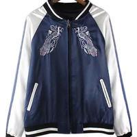 Blue Bird Pattern Contrast Sleeve Bomber Jacket