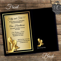 Fifty and Fabulous Invitations, 50th Birthday Invitations,Adult Birthday Invitation,Printable invitations,Glitter high heel, Black N Gold