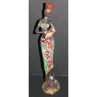 "African Tribal Lady with a baby 12"" Figurine in colorful dress with glitter and cut mirrors"