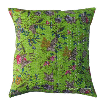Green Handmade Vintage Indian Kantha Decorative Throw Pillow Case