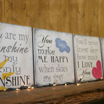 You Are My Sunshine Wood Sign Nursery Wallhanging Boys Nursery Girls Nursery Shabby Chic Nursery Vintage Nursery Handmade Handpainted