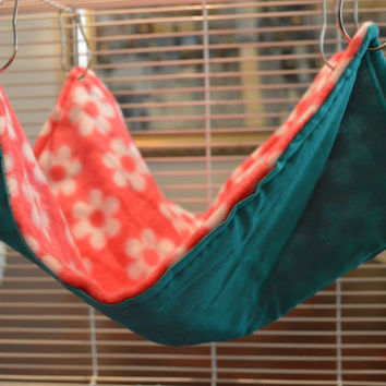 Pink Flowers Large Critter Hammock Standard Flat 14x14 Rat, Ferret, Hamster, Sugar Glider, and other Small Critters