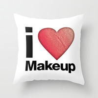 I love Make-Up Throw Pillow by LuxuryLivingNYC