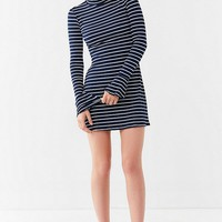 UO Striped Mock-Neck Bell-Sleeve Dress | Urban Outfitters
