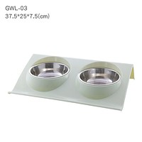 Pet Medium Size Green Double Bowls Food Water Feeder Stainless Steel Cat Food Bowl for Dog Puppy Cats Pets Supplies Feeding Dishes FREE SHIPPING