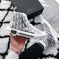 Dior CD hot sale net yarn letters high-top shoes breathable thick-soled versatile men and women couple shoes