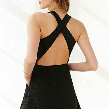 Silence + Noise Cross-Back Textured Knit Dress