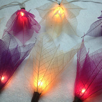20 purple Tone  Flower Leaves Fairy String Lights Wedding Party Floral Home Decoration