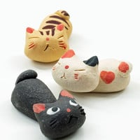 Painted Clay Cat Chopstick Rest Set