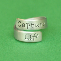 Capture Life - hand stamped ring - photography - photography jewelry