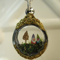 Terrarium Gnomes Pendant with a Morel Mushroom  by workofwhimsy